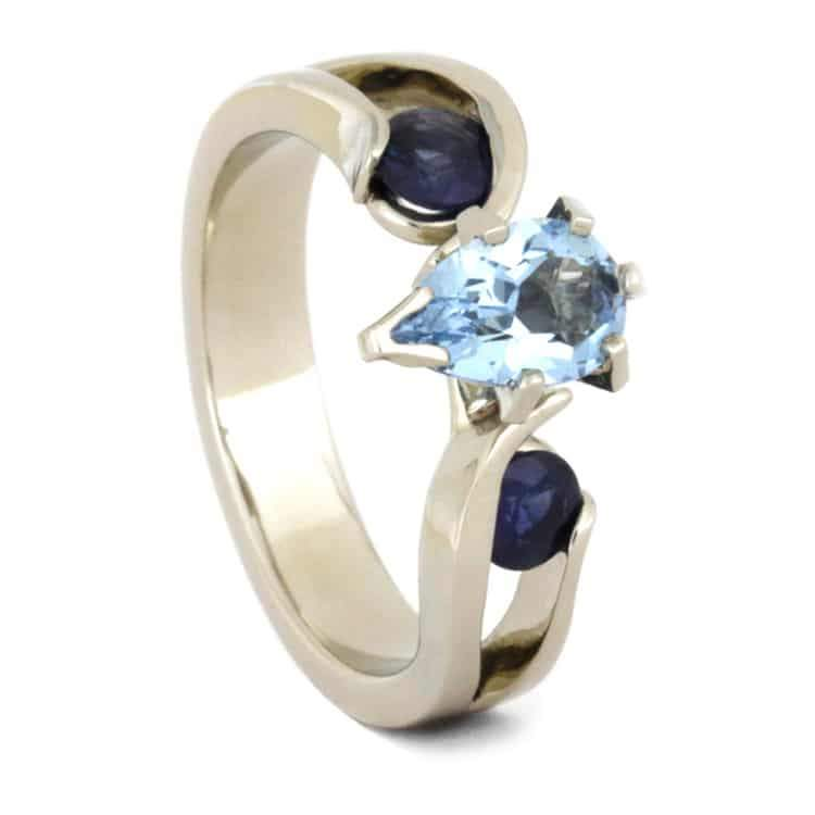 14K White Gold Aquamarine and Sapphire Ring with Meteorite Inlay