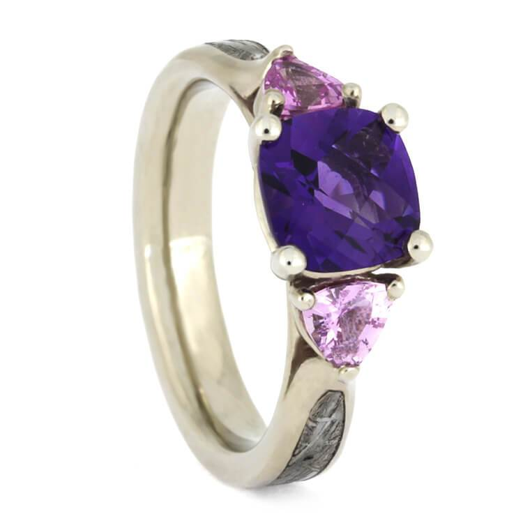 14K White Gold Amethyst and Sapphire Ring with Meteorite
