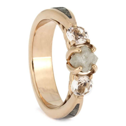 14K Rose Gold Rough Diamond and Morganite Ring with Meteorite
