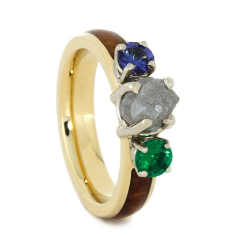 14K White Gold Rough Diamond Hardwood Ring with Sapphire and Emerald
