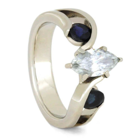 14K White Gold Diamond and Sapphire Ring with Meteorite