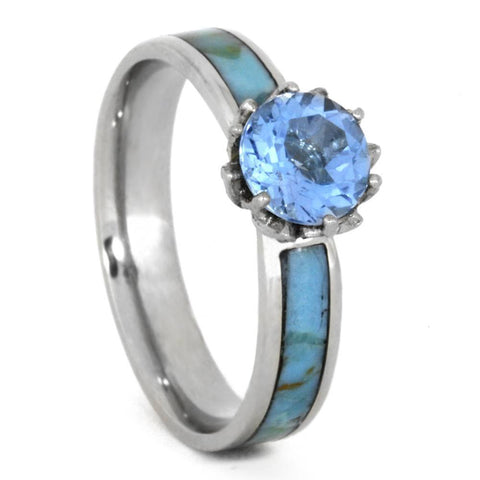 14K White Gold Swiss Blue Topaz and Turquoise Engagement Ring
