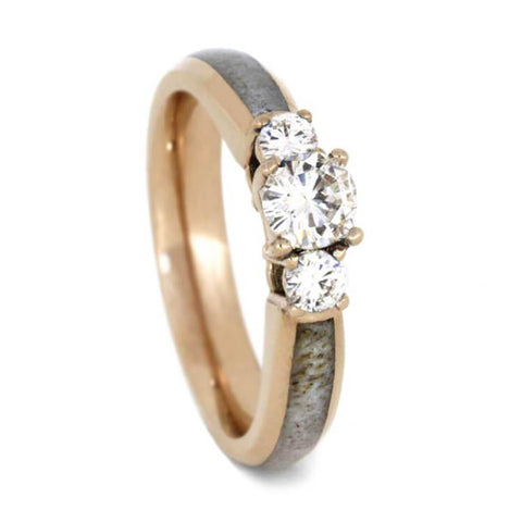 14K Rose Gold Moissanite and Antler Engagement Ring