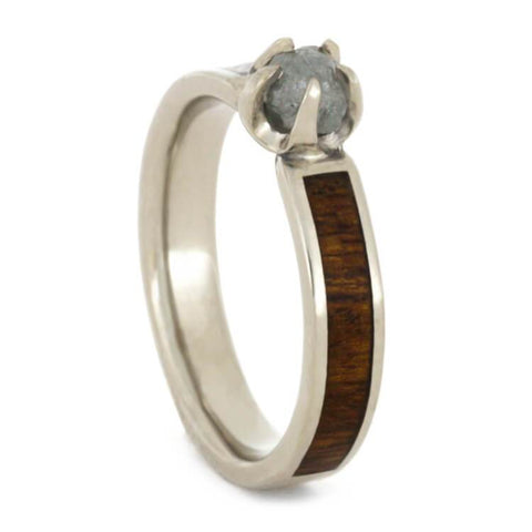 14K White Gold Rough Diamond and Hardwood Ring