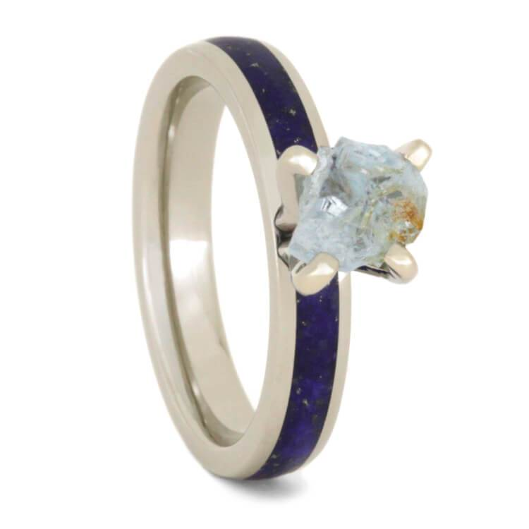 14K White Gold Rough Aquamarine with Lapiz Lazuli Inlay Custom Ring