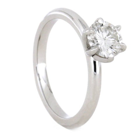 14K White Gold Moissanite Solitaire Engagement Ring