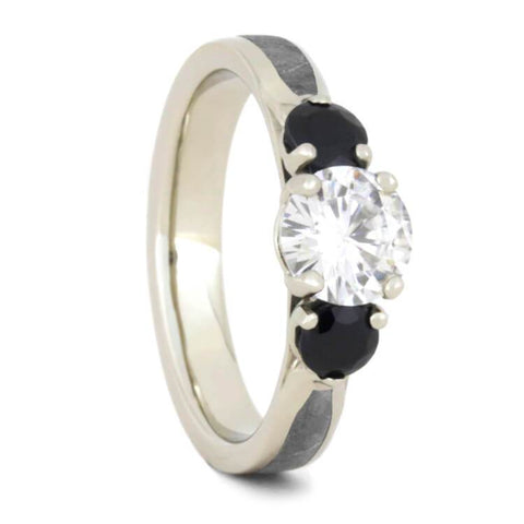 14K White Gold Moissanite and Sapphire Ring with Meteorite