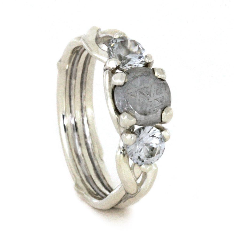Sterling Silver Meteorite White Sapphire Engagement Ring