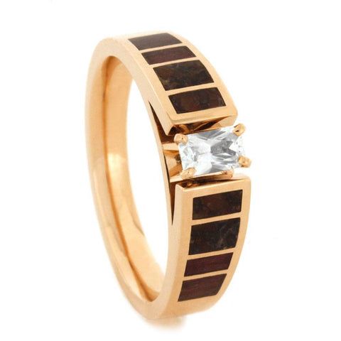 14K Rose Gold White Sapphire Engagement Ring with Dinosaur Bone and Hardwood