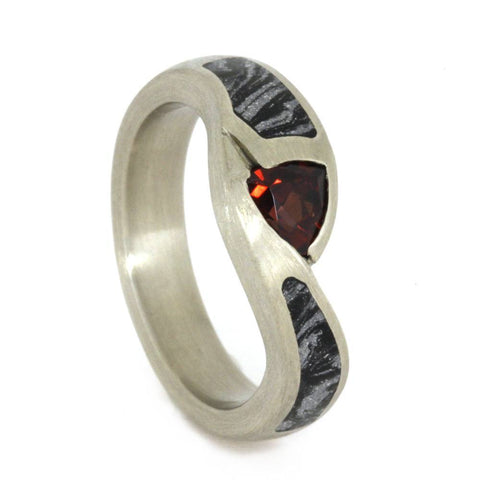 14K White Gold Ruby and Mokume Gane Engagement Ring
