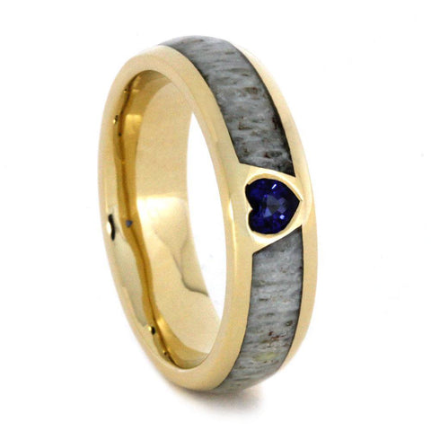 14K Yellow Gold Heart Sapphire and Antler Ring