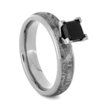 14K White Gold Black Diamond and Meteorite Engagement Ring