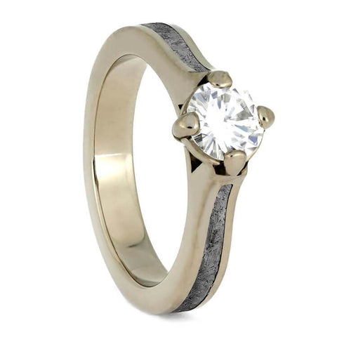 14K White Gold Meteorite and Moissanite Solitaire Ring