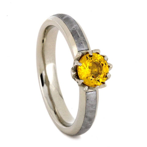 14K White Gold Yellow Sapphire and Meteorite Engagement Ring