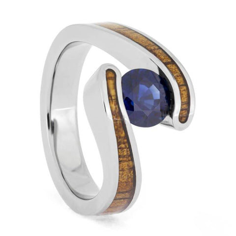 Titanium Blue Sapphire and Hardwood Engagement Ring