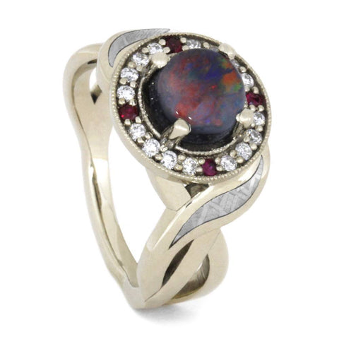 14K White Gold Opal Ring with Diamond and Ruby Halo and Meteorite Inlays