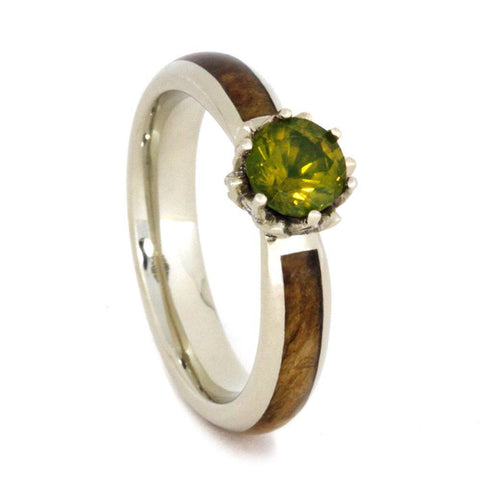 14K White Gold Peridot and Hardwood Engagement Ring