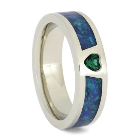 14K White Gold Emerald and Opal Engagement Ring