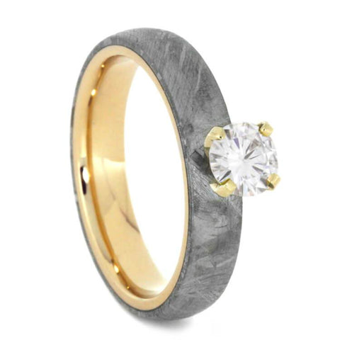 14K Yellow Gold Diamond and Meteorite Solitaire Engagement Ring