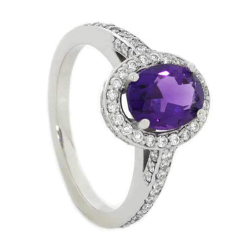 14K White Gold Amethyst and Diamond Halo Engagement Ring with Meteorite
