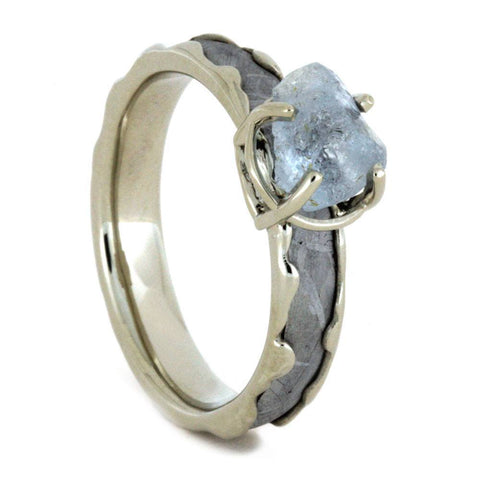 14K White Gold Rough Aquamarine and Meteorite Engagement Ring