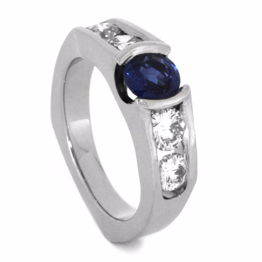 14K White Gold and Sapphire Custom Made Engagement Ring