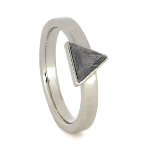 14K White Gold Triangle Meteorite Engagement Ring