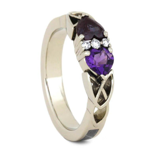 14K White Gold Amethyst and Alexandrite Engagement Ring with Meteorite