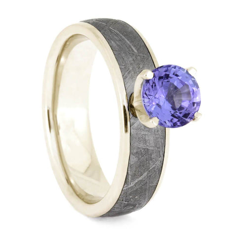14K White Gold Tanzanite and Meteorite Engagement Ring