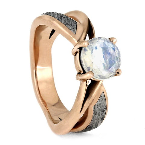 14K Rose Gold Moonstone and Meteorite Engagement Ring