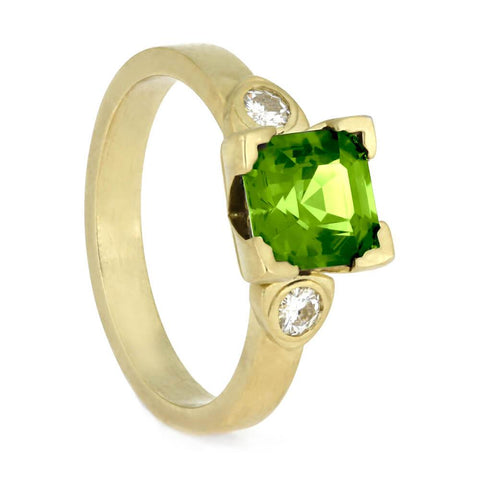 14K Yellow Gold Peridot and Moissanite Engagement Ring