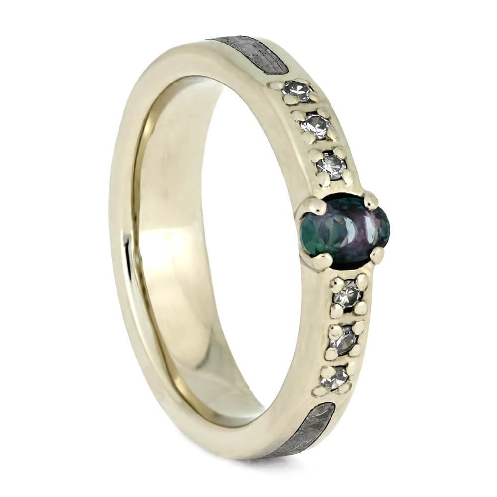 10K White Gold Meteorite and Alexandrite Ring with Diamonds