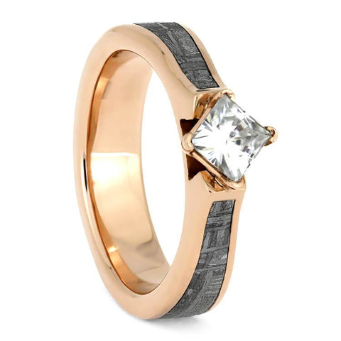 14K Rose Gold Moissanite and Meteorite Solitaire Engagement Ring