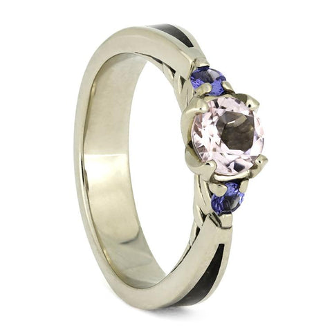 14K White Gold Morganite and Tanzanite Ring with Dinosaur Bone Inlay