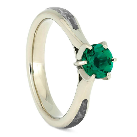 14K White Gold and Emerald Ring with Meteorite Inlay