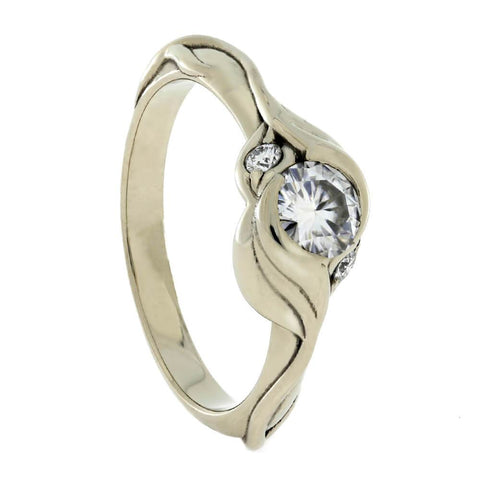 14K White Gold Leaf Pattern Moissanite and Diamond Engagement Ring