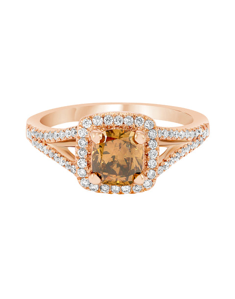 14K Rose Gold Mocha Diamond Engagement Ring