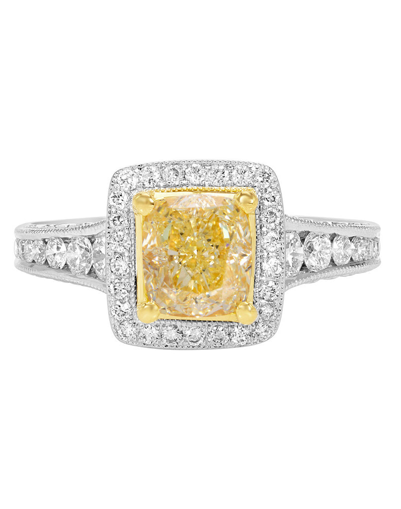14K White Gold and Fancy Yellow Diamond Ring