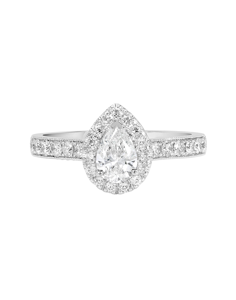 14K White with Rose Gold and Halo Diamond Tesori Engagement Ring