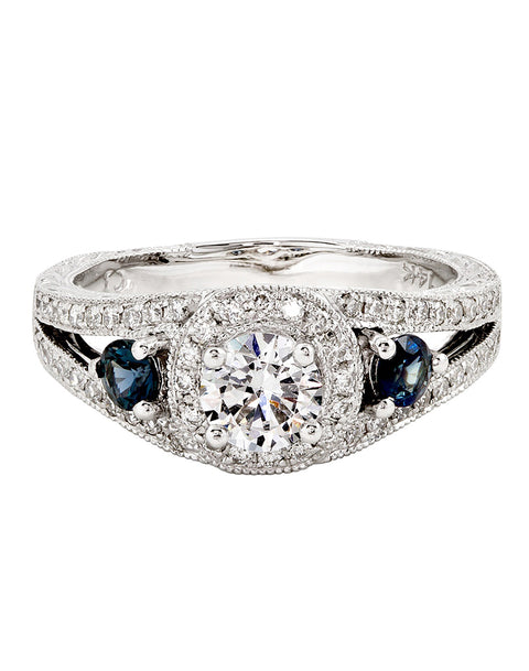14K White Gold and Halo Diamond with Blue Sapphire Tesori Engagement Ring