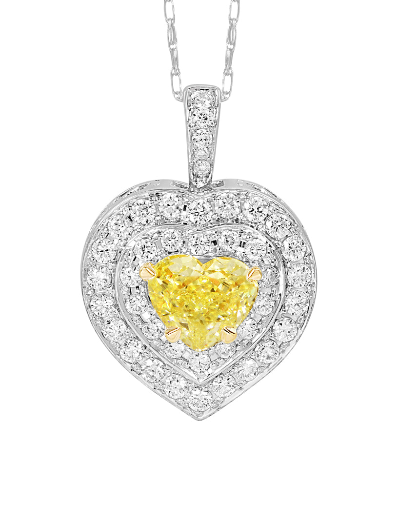 14K White Gold and Fancy Yellow Diamond Pendant