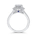 14K White Gold Round Diamond Double Halo Engagement Ring with Blue Sapphire