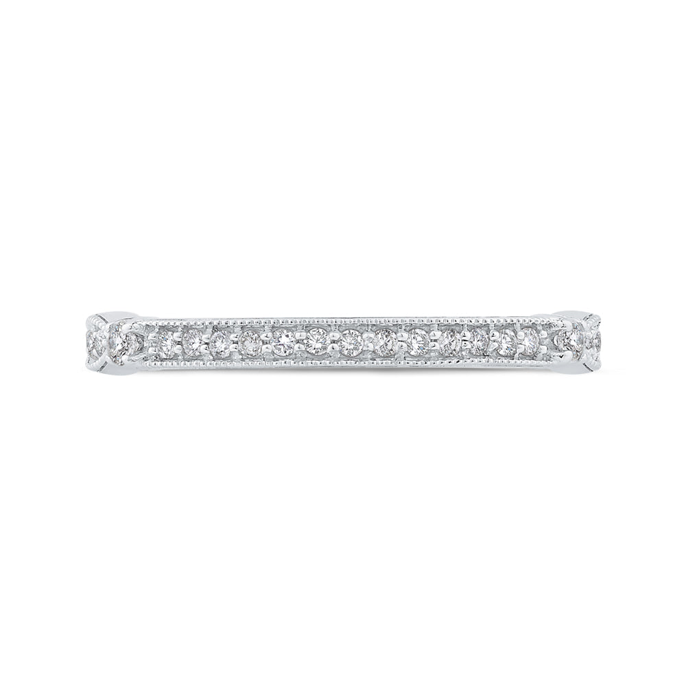 Round Diamond Half-Eternity Wedding Band with Euro Shank In 14K White Gold