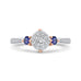 14K Two-Tone Gold Round Diamond Three-Stone Engagement Ring with Blue Sapphire