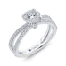 14K White Gold Round Diamond Crossover Criss-Cross Engagement Ring