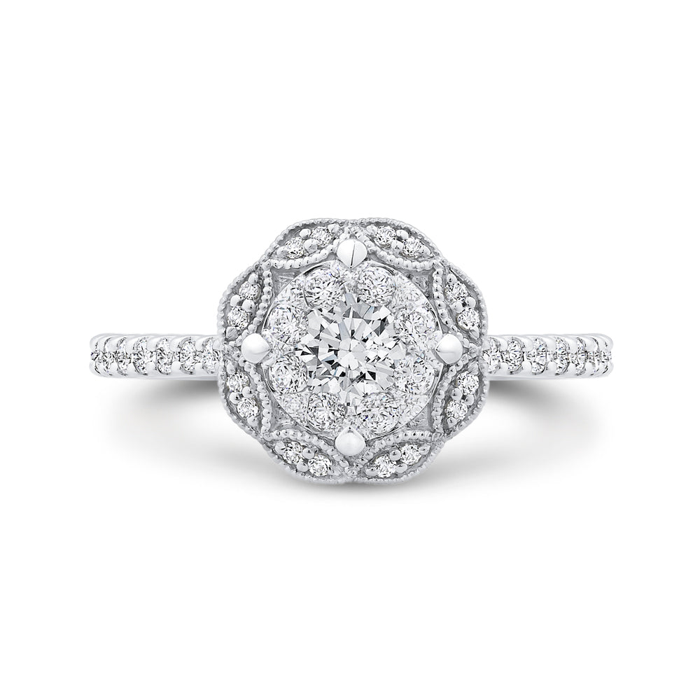 Round Cut Diamond Flower Engagement Ring In 14K White Gold