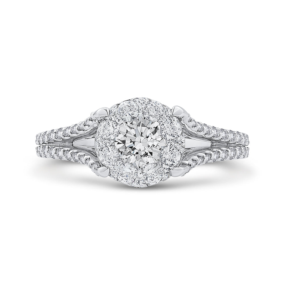 Round Diamond Engagement Ring In 14K White Gold with Split Shank