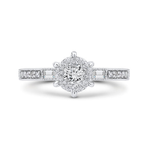 Round & Baguette Diamond Engagement Ring In 14K White Gold