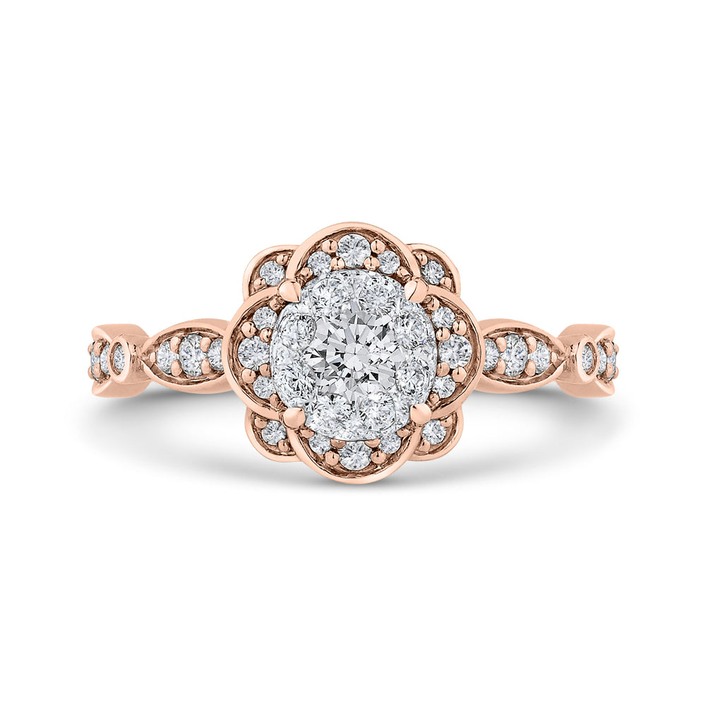 14K Two-Tone Gold Round Diamond Flower Engagement Ring