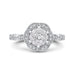 14K White Gold Round Diamond Flower Engagement Ring